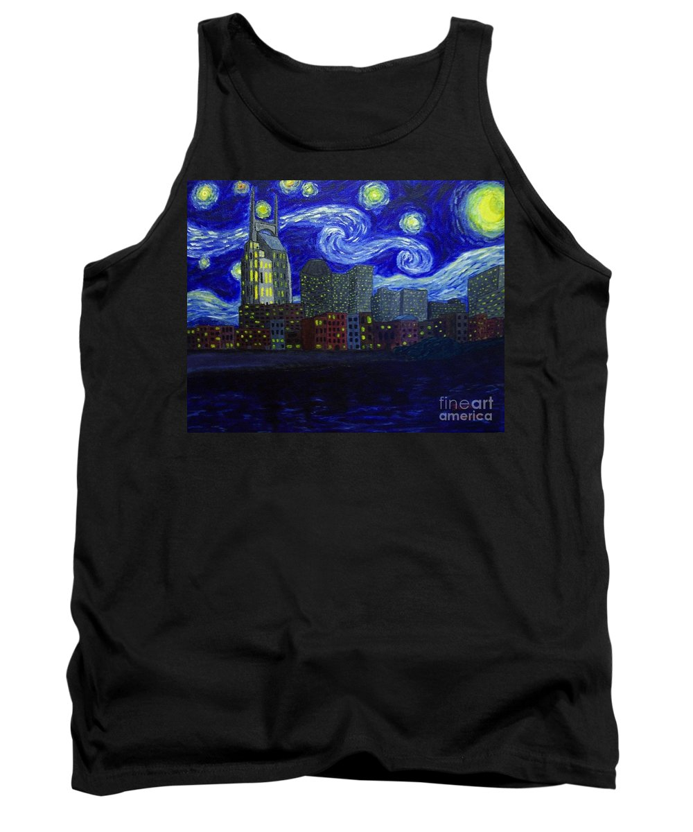 Cityscapes Tank Top featuring the painting Dedication To Van Gogh Nashville Starry Nights by Jack Lepper