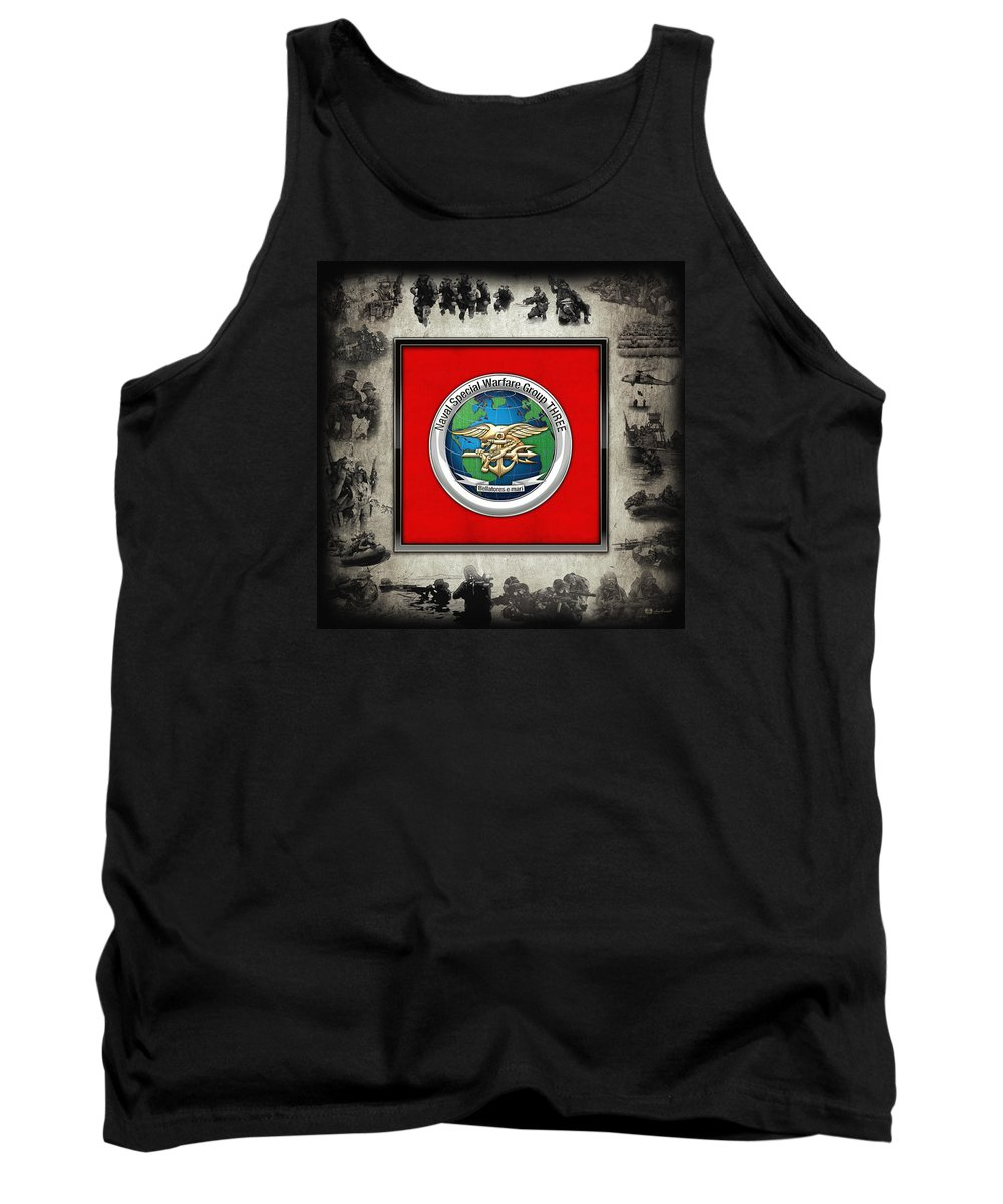 'military Insignia & Heraldry - Nswc' Collection By Serge Averbukh Tank Top featuring the digital art Naval Special Warfare Group Three - N S W G-3 - Over Navy S E A Ls Collage by Serge Averbukh