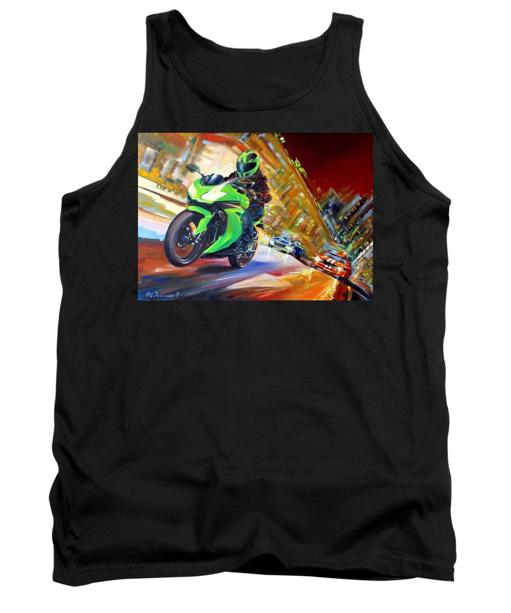 Motorcycle Tank Top featuring the painting Need For Speed by Roman Fedosenko