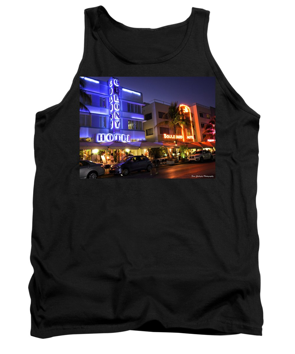 Florida Tank Top featuring the photograph Neon Art Deco by Fran Gallogly