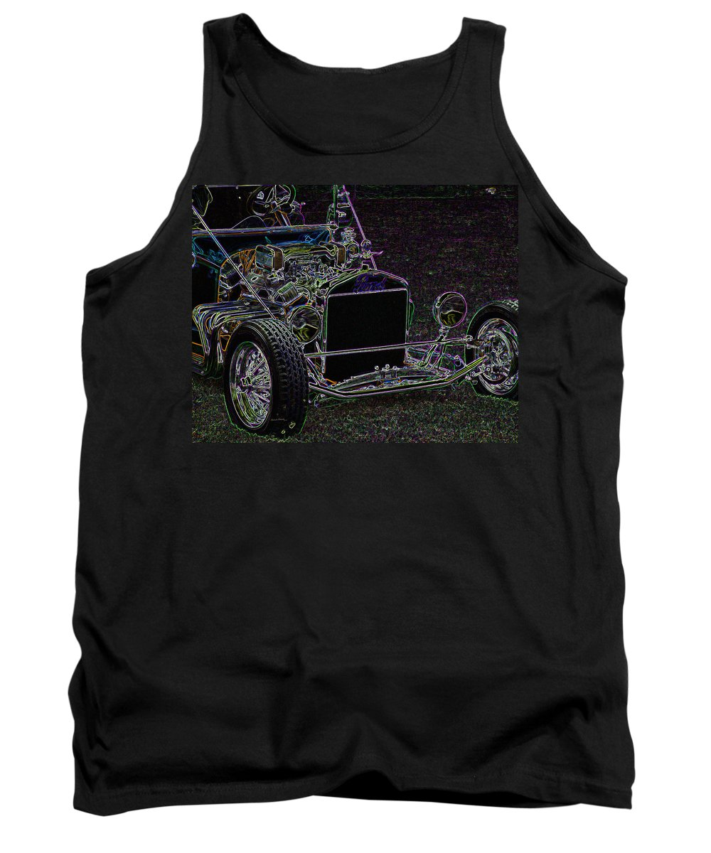 Ford Roadster Tank Top featuring the digital art Neon Roadster by Ernie Echols