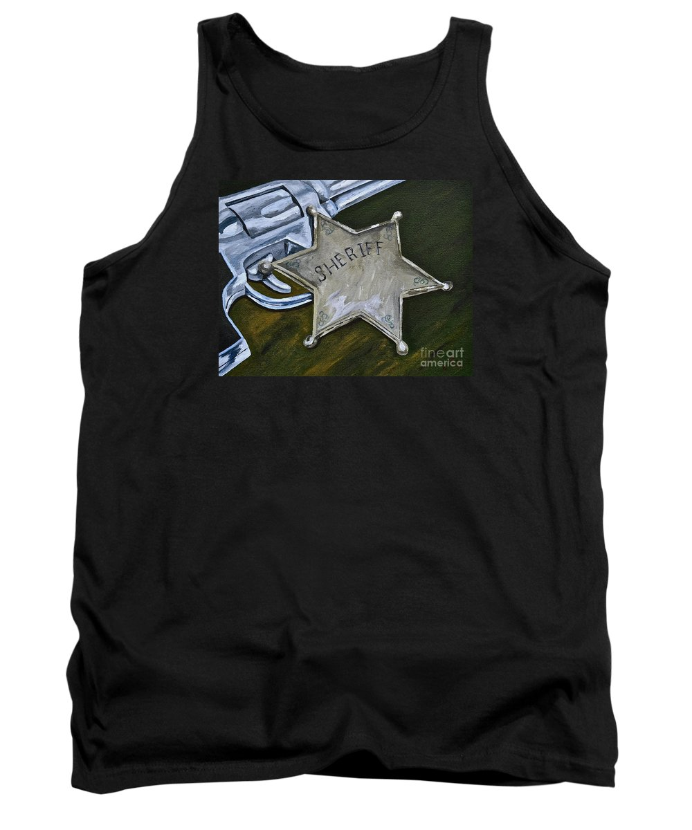 Toys And Games Toy Guns Sheriff Tank Top featuring the painting New Sheriff In Town by Herschel Fall