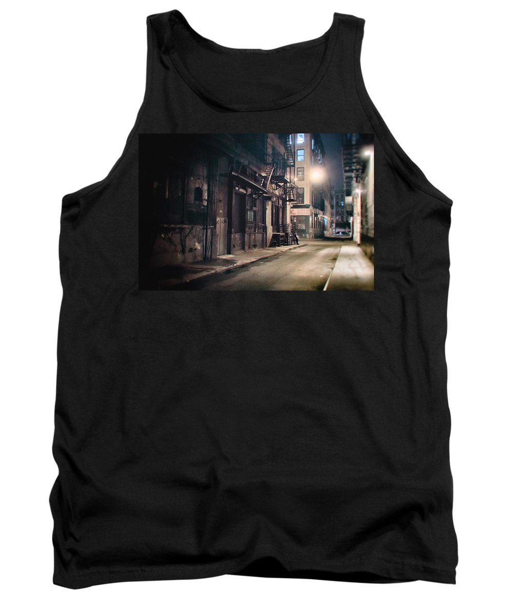 Nyc Tank Top featuring the photograph New York City Alley At Night by Vivienne Gucwa