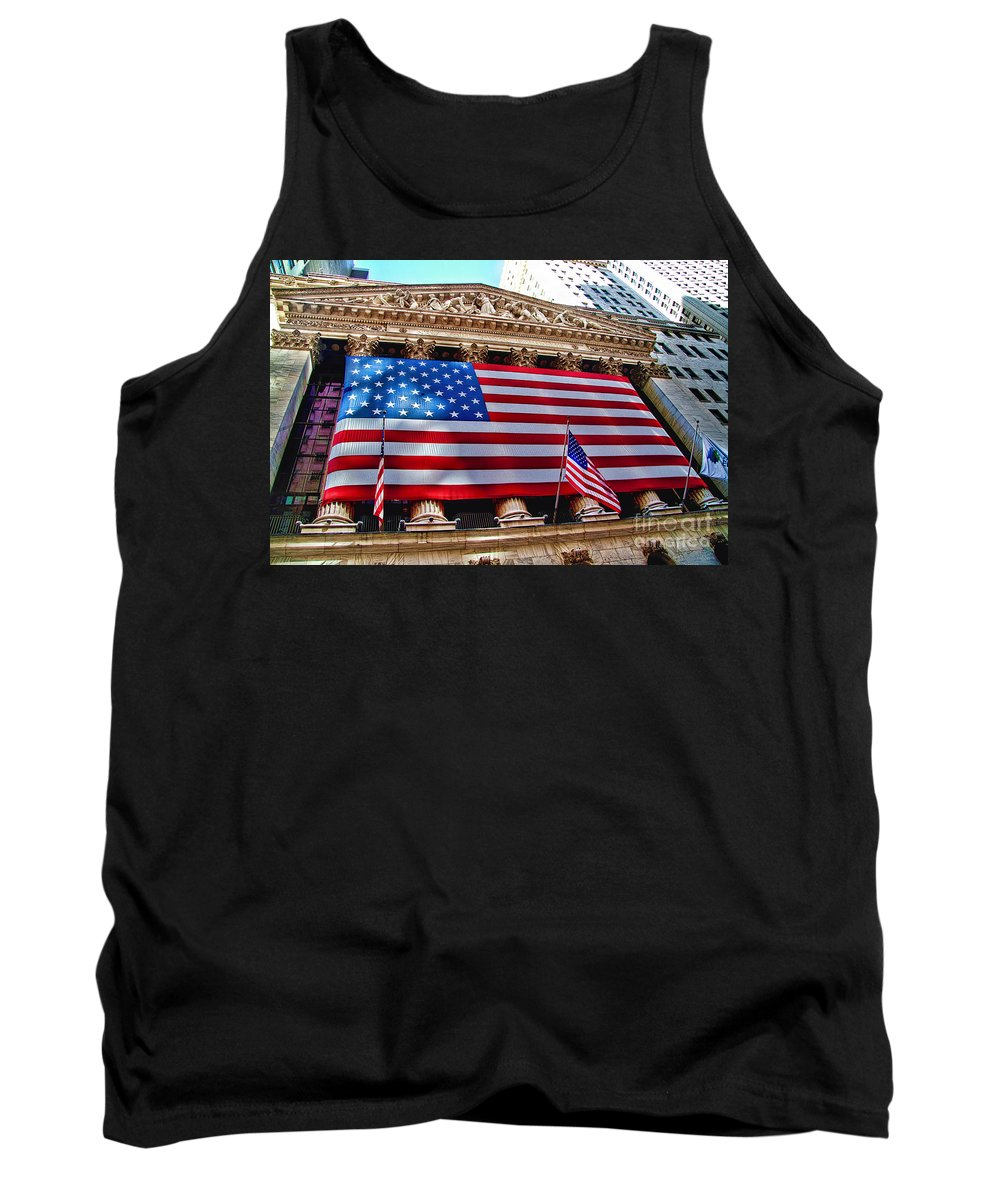 Usa Tank Top featuring the photograph New York Stock Exchange With Us Flag by David Smith