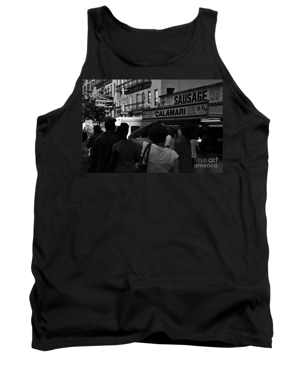 New York Tank Top featuring the photograph New York Street Fair - Black And White by Miriam Danar
