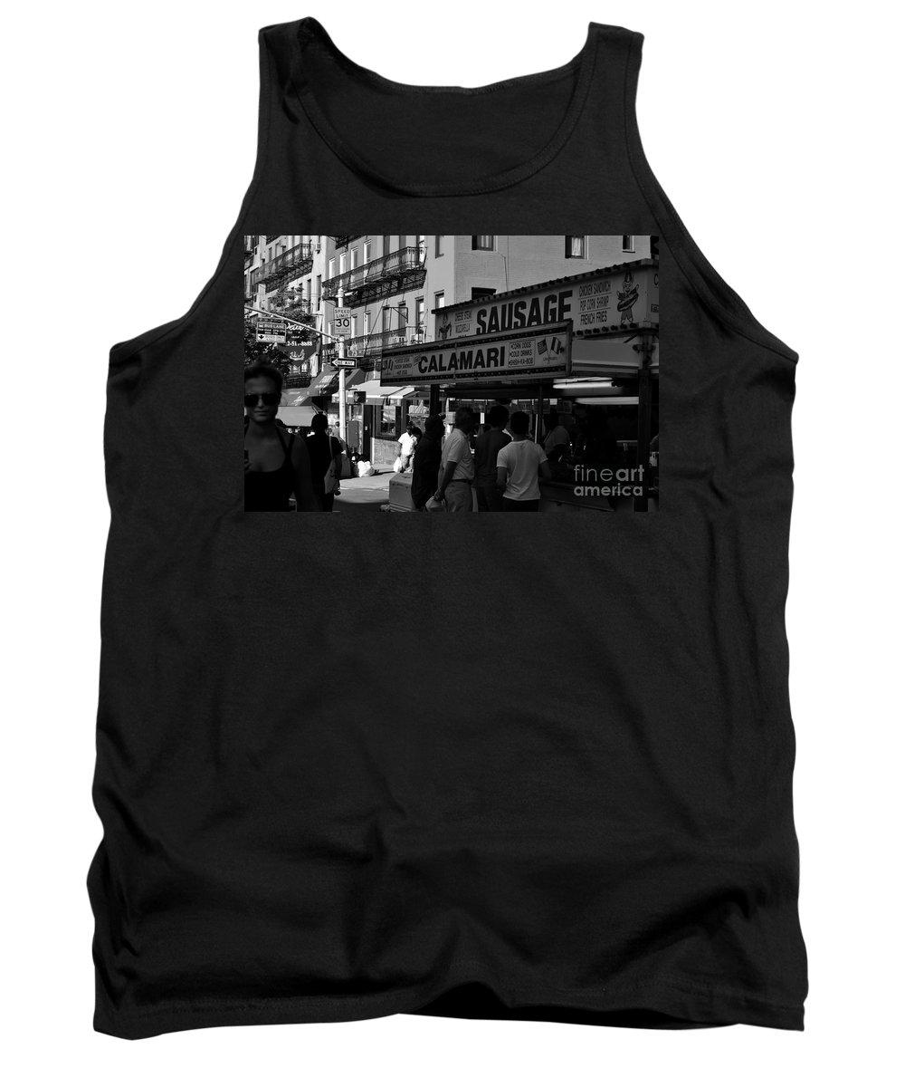 New York Tank Top featuring the photograph New York City Street Fair - Calamari Sausage - Black And White by Miriam Danar