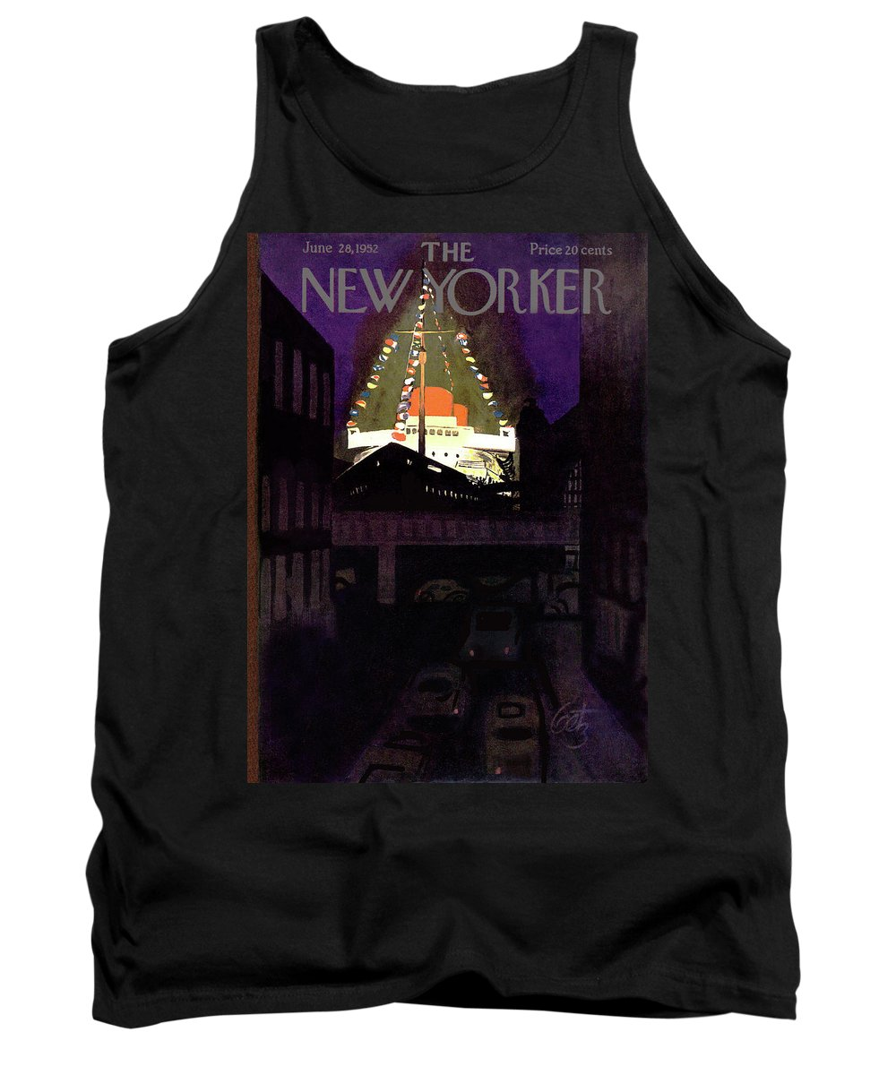Urban City Manhattan New York City Skyscraper Skyscrapers Sea Ocean Nautical Beach Coast Coastline Coastal Cruise First Mate Deck Sail Sailing  Sailboat Summer Arthur Getz Agt Sumnerok Artkey 49249 Tank Top featuring the painting New Yorker June 28th, 1952 by Arthur Getz