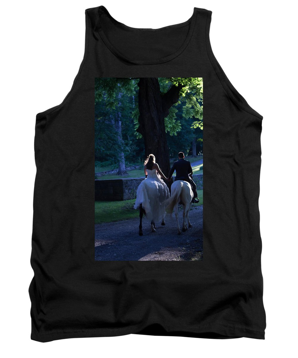 Married Tank Top featuring the photograph Newlyweds Ride Horseback Into The Sunset by Patti Colston