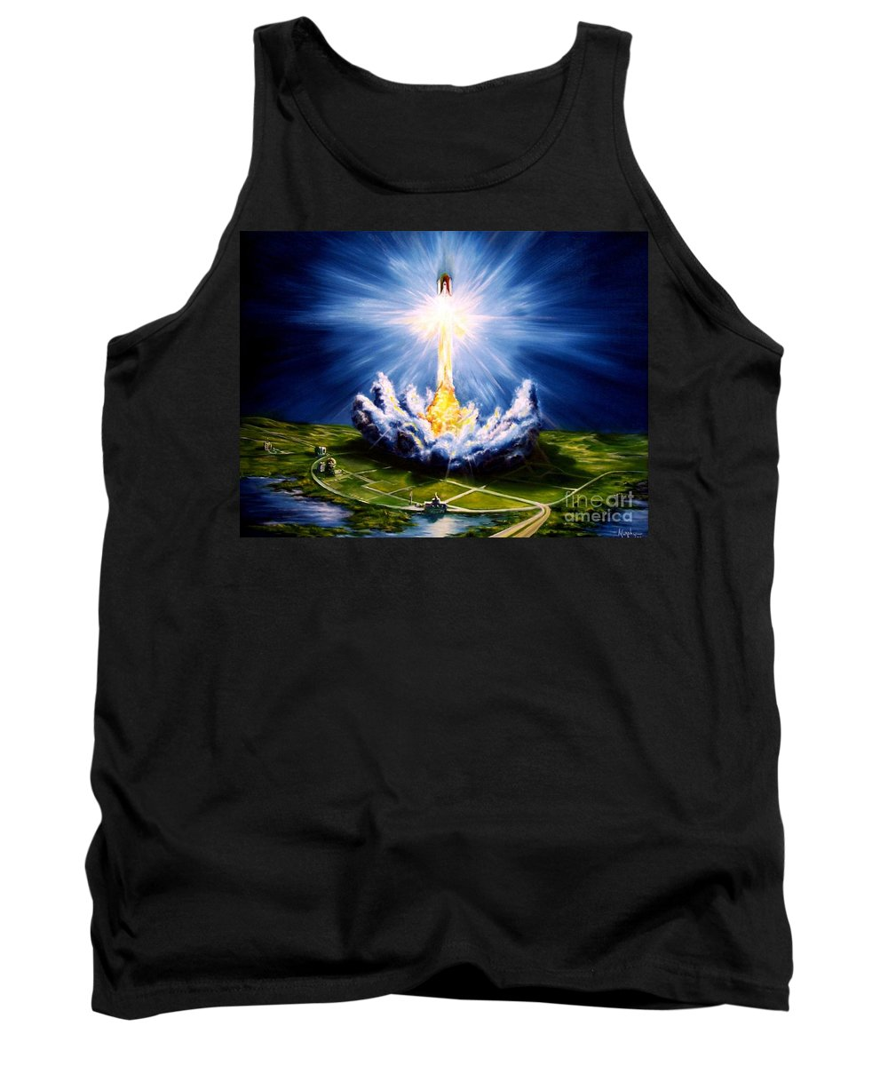 Landscape Tank Top featuring the painting Night At The Cape by Murphy Elliott