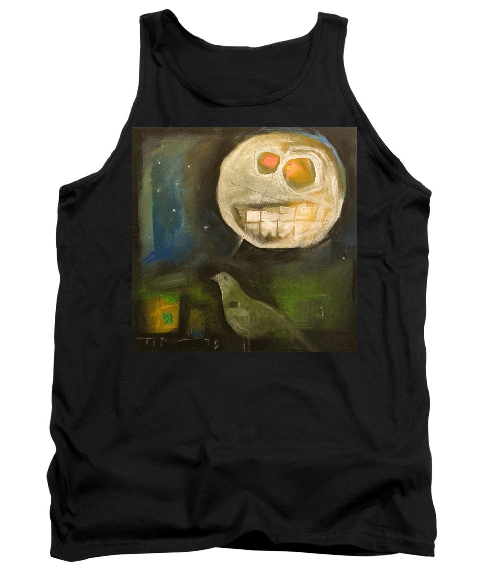 Moon Tank Top featuring the painting Night Bird Harvest Moon by Tim Nyberg