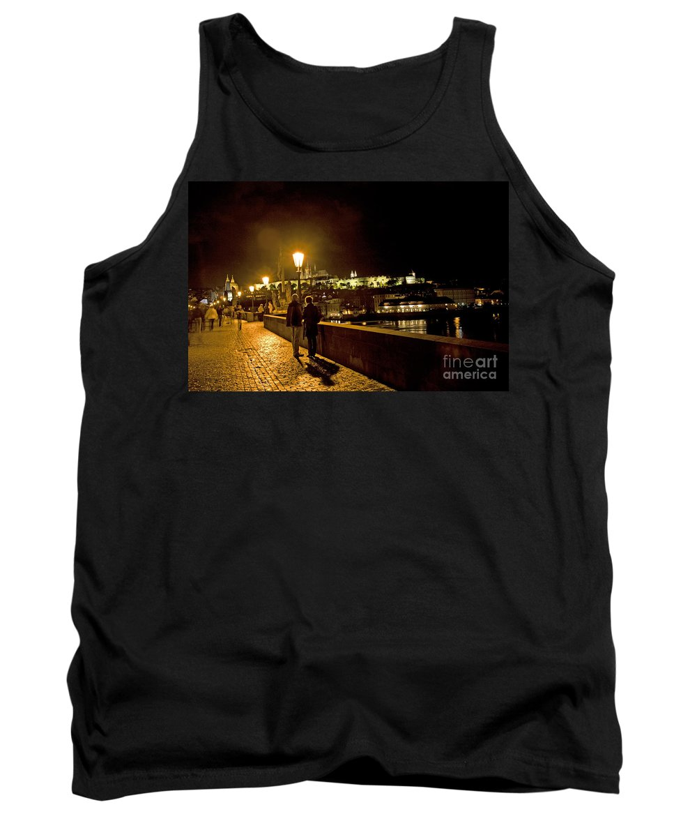 Prague Tank Top featuring the photograph Night On The Charles Bridge by Madeline Ellis