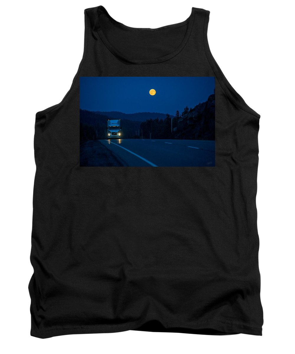 Transport Truck Tank Top featuring the photograph Night Rider by Doug Gibbons