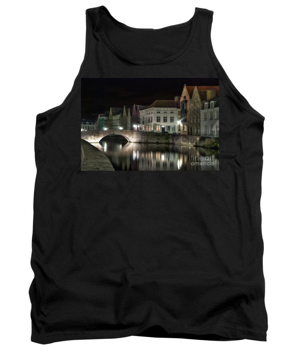 Architecture Tank Top featuring the photograph Night Time On The Canal by Juli Scalzi