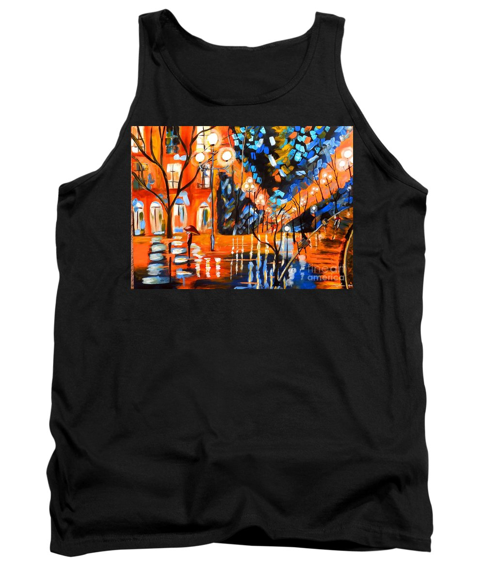 Landscape Canvas Print Tank Top featuring the painting Night Village Rain by Jayne Kerr