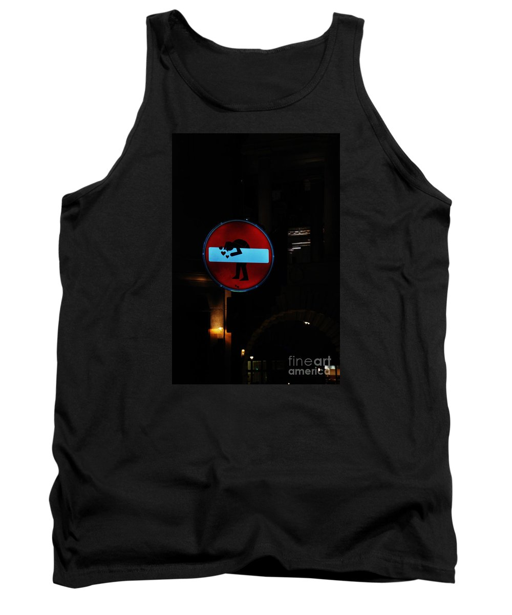 No Entry Love Sign London Street Art Graffiti Tank Top featuring the photograph No-entry Sign Love by Richard Gibb