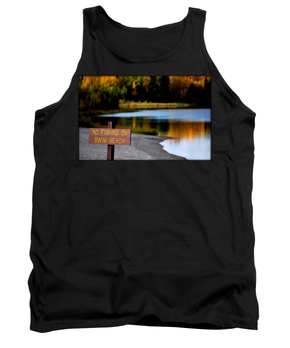 Fish Tank Top featuring the photograph No Fishing by Kathy Sampson