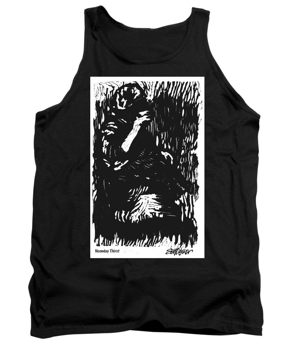 Old South Tank Top featuring the mixed media Noonday Thirst by Seth Weaver