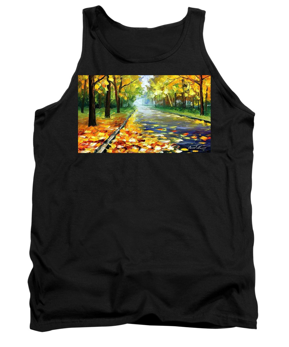 Leonid Afremov Tank Top featuring the painting November Alley - Palette Knife Landscape Autumn Alley Oil Painting On Canvas By Leonid Afremov - Siz by Leonid Afremov