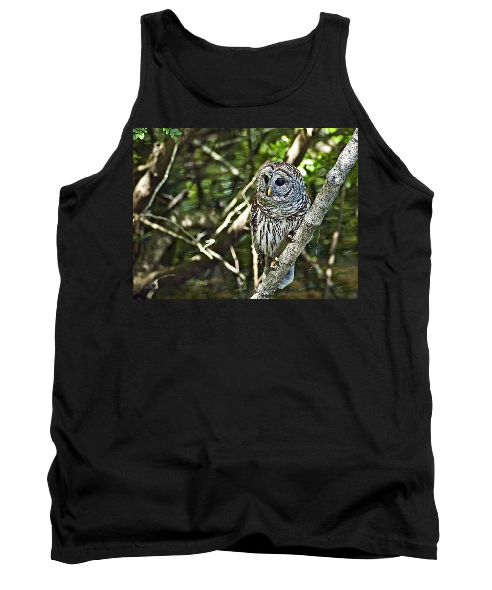Barred Owl Tank Top featuring the photograph Now Where Did That Fish Go by Norman Johnson