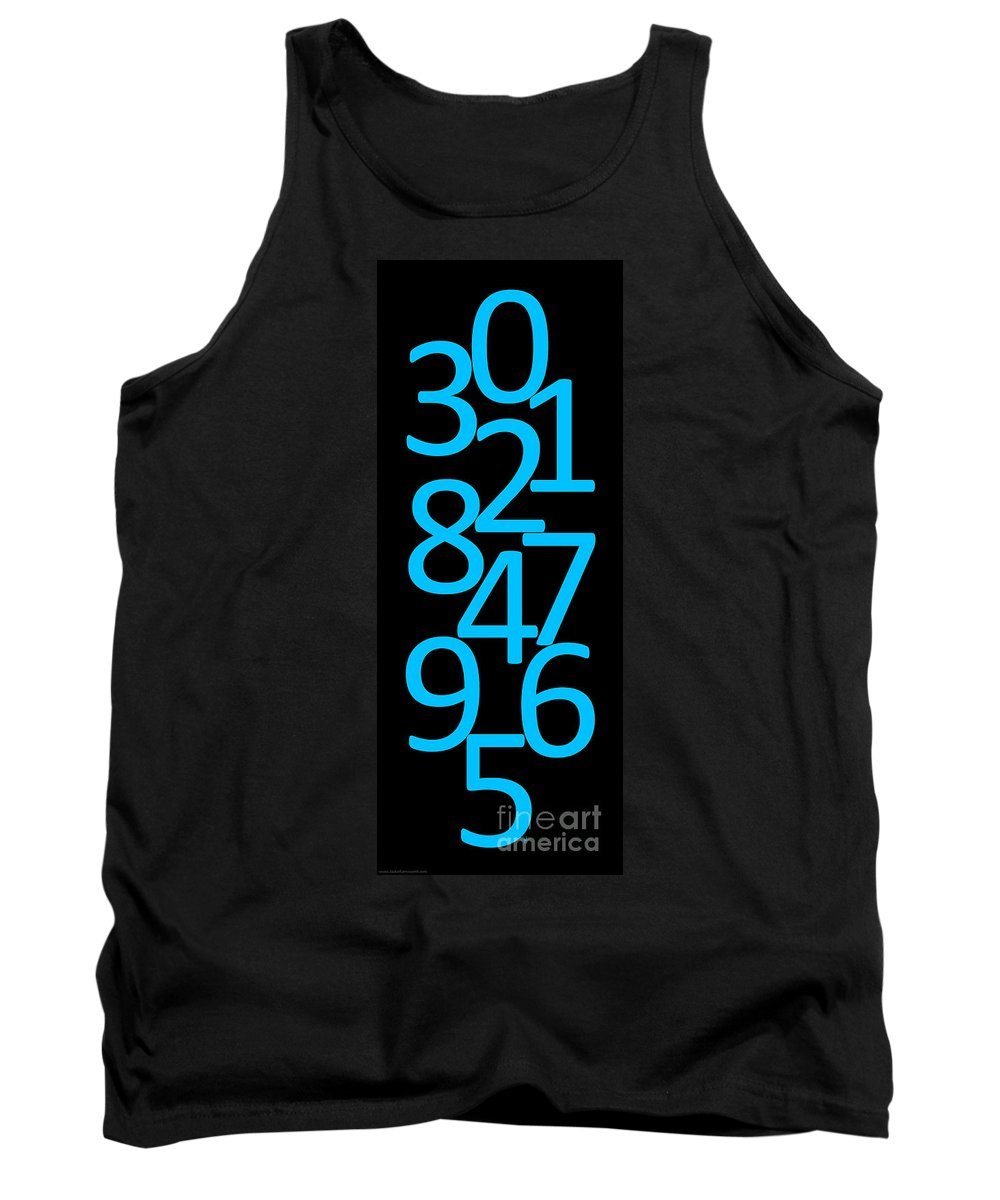 Numbers Tank Top featuring the digital art Numbers In Blue And Black by Jackie Farnsworth