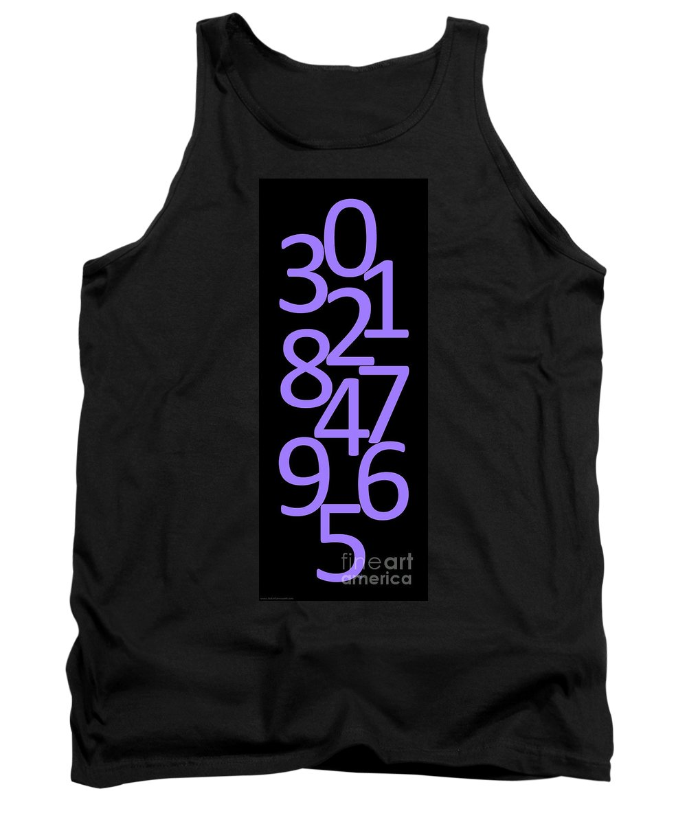 Numbers Tank Top featuring the digital art Numbers In Purple And Black by Jackie Farnsworth