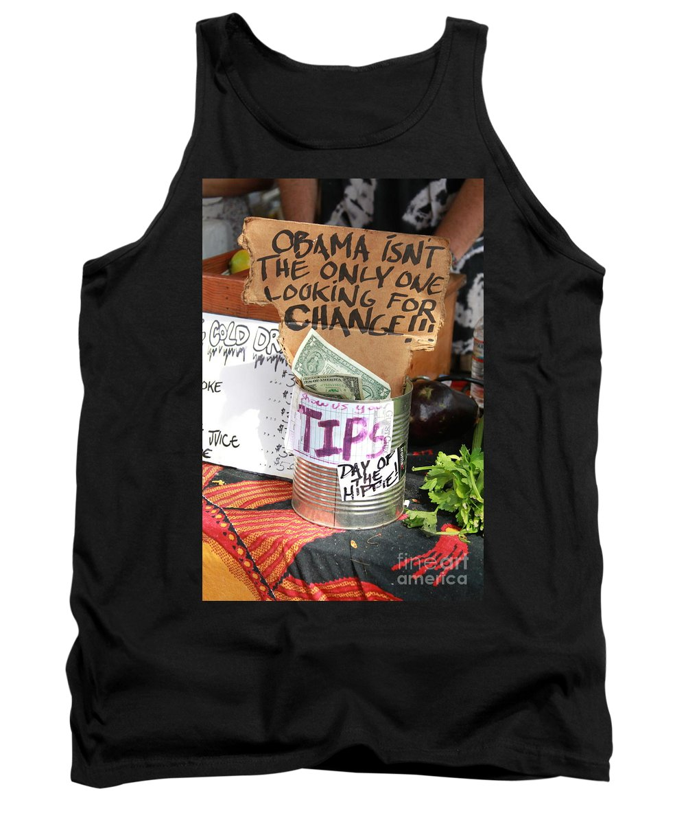 Tips Tank Top featuring the photograph Obama Change by Concert Photos