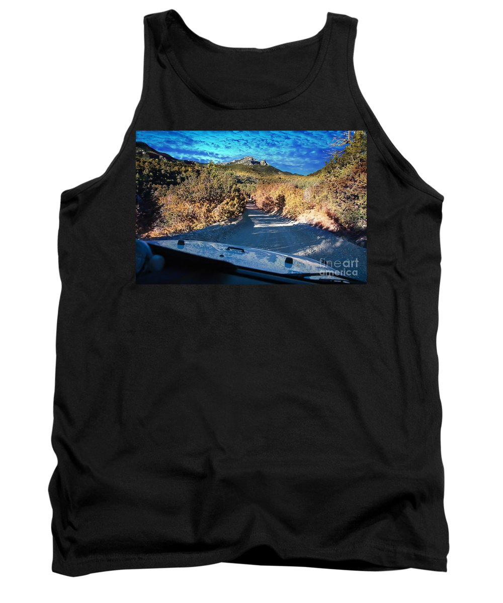 Mountain Tank Top featuring the photograph Offroad Driving View From Inside The Car by Gunter Nezhoda
