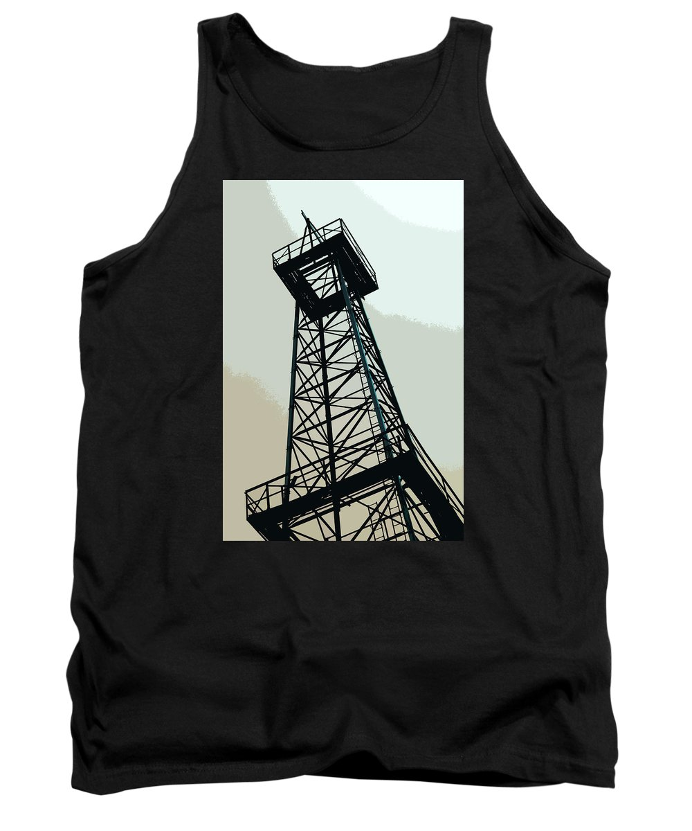 Derrick Tank Top featuring the photograph Oil Derrick In Gray by Art Block Collections