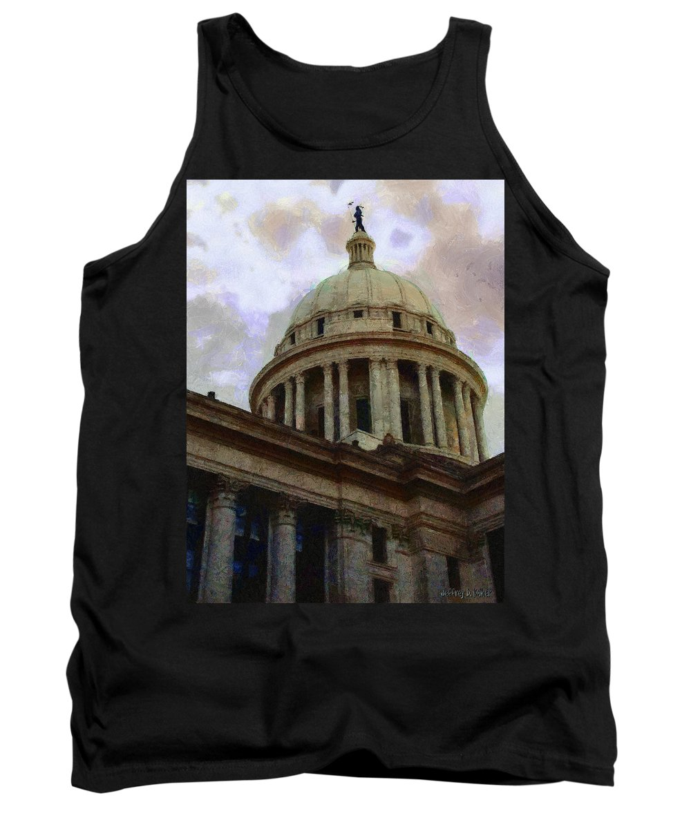 Architecture Tank Top featuring the painting Oklahoma Capital by Jeffrey Kolker