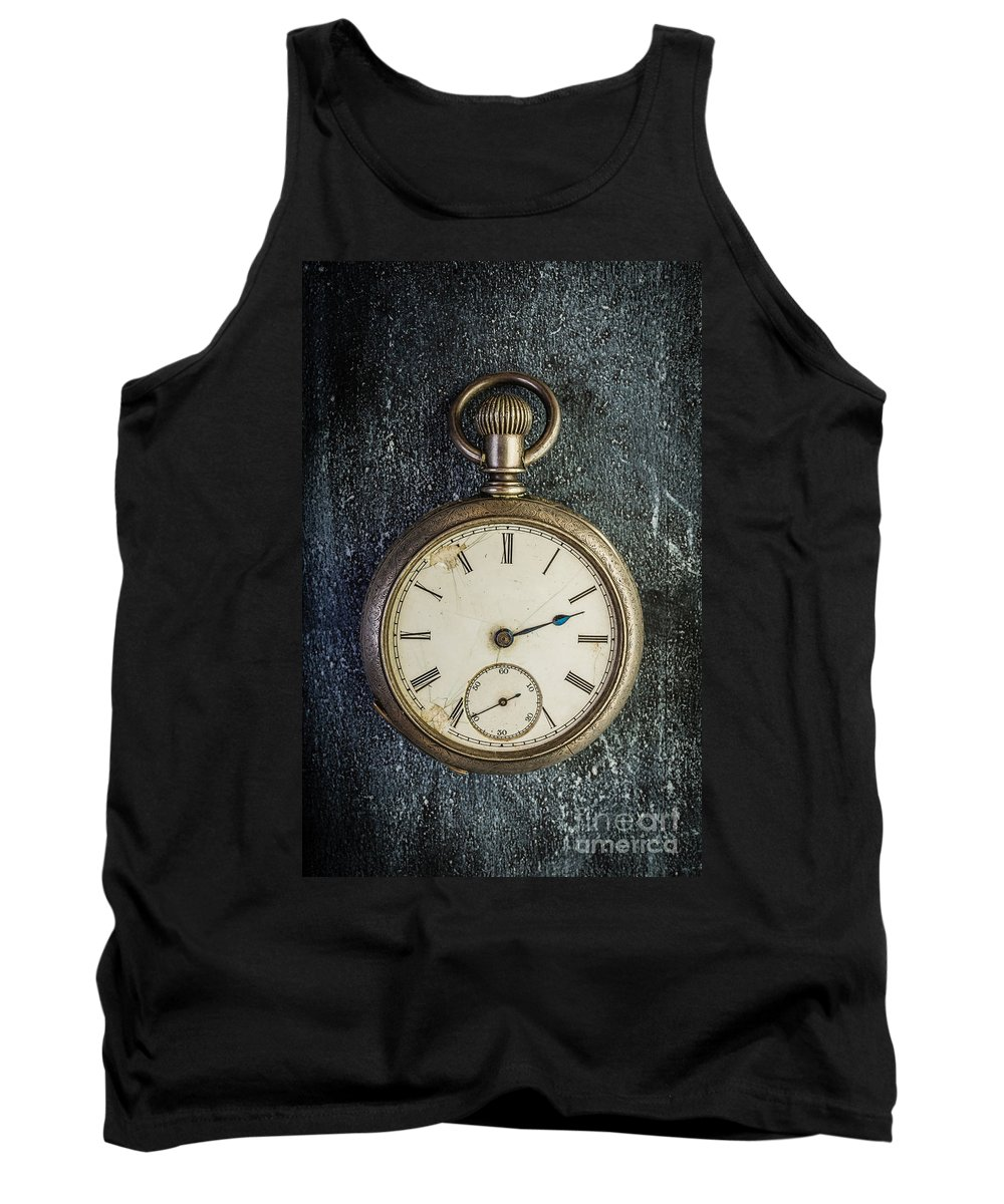 Clock Tank Top featuring the photograph Old Antique Pocket Watch by Edward Fielding