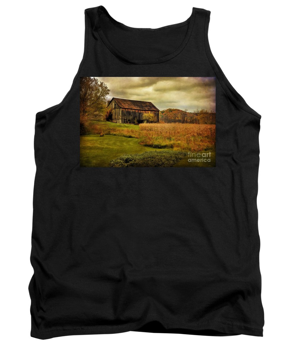 Barn Tank Top featuring the photograph Old Barn In October by Lois Bryan