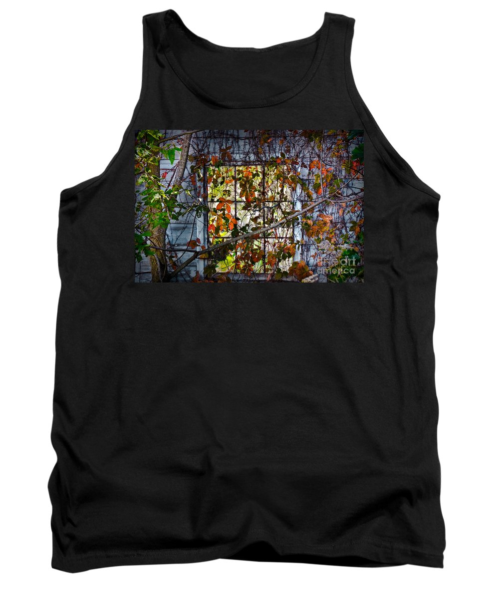 Window Tank Top featuring the photograph Old Barn Window Vines by Gary Keesler