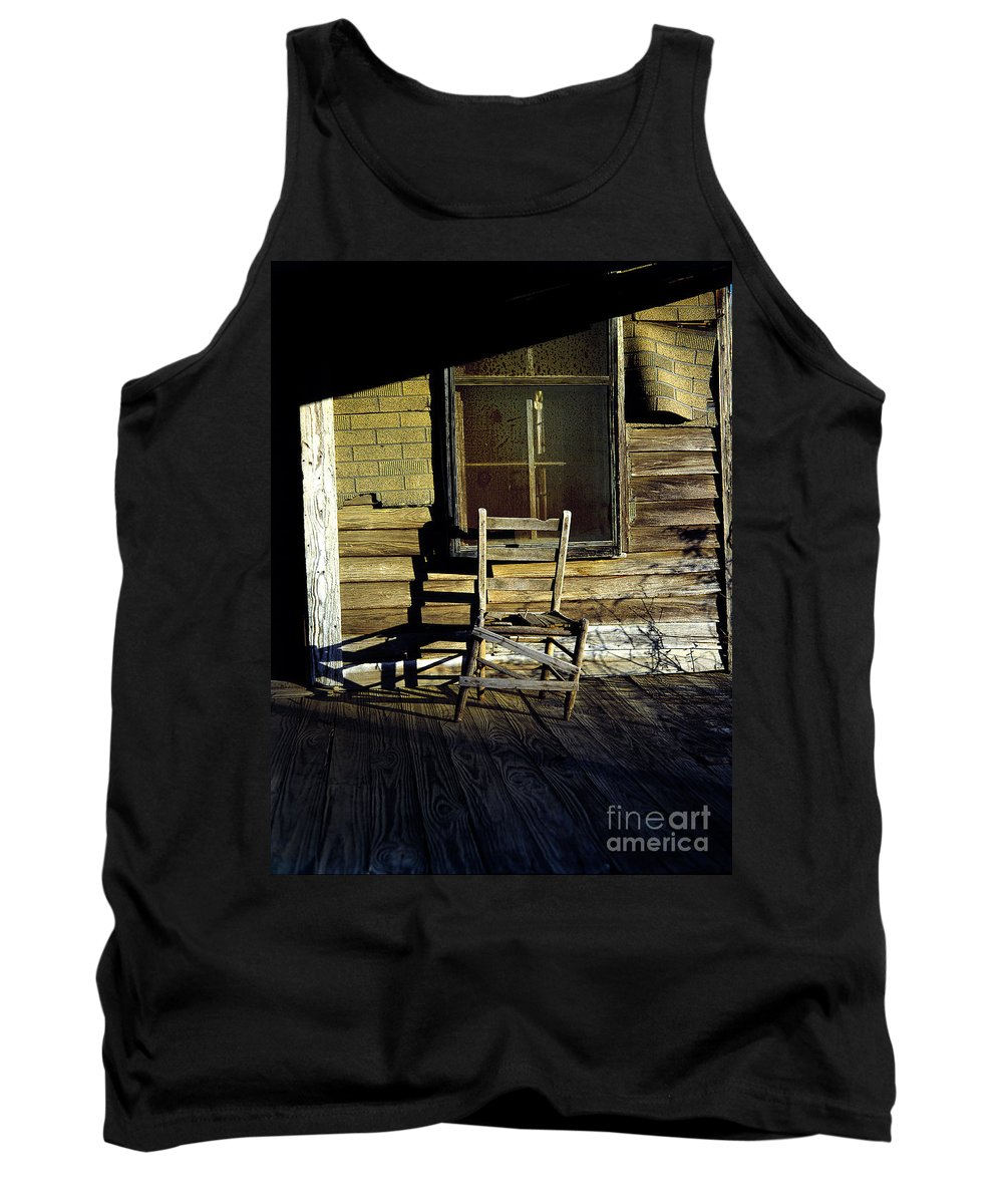 Chair Tank Top featuring the photograph Old Chair On Old Porch by Mike Nellums