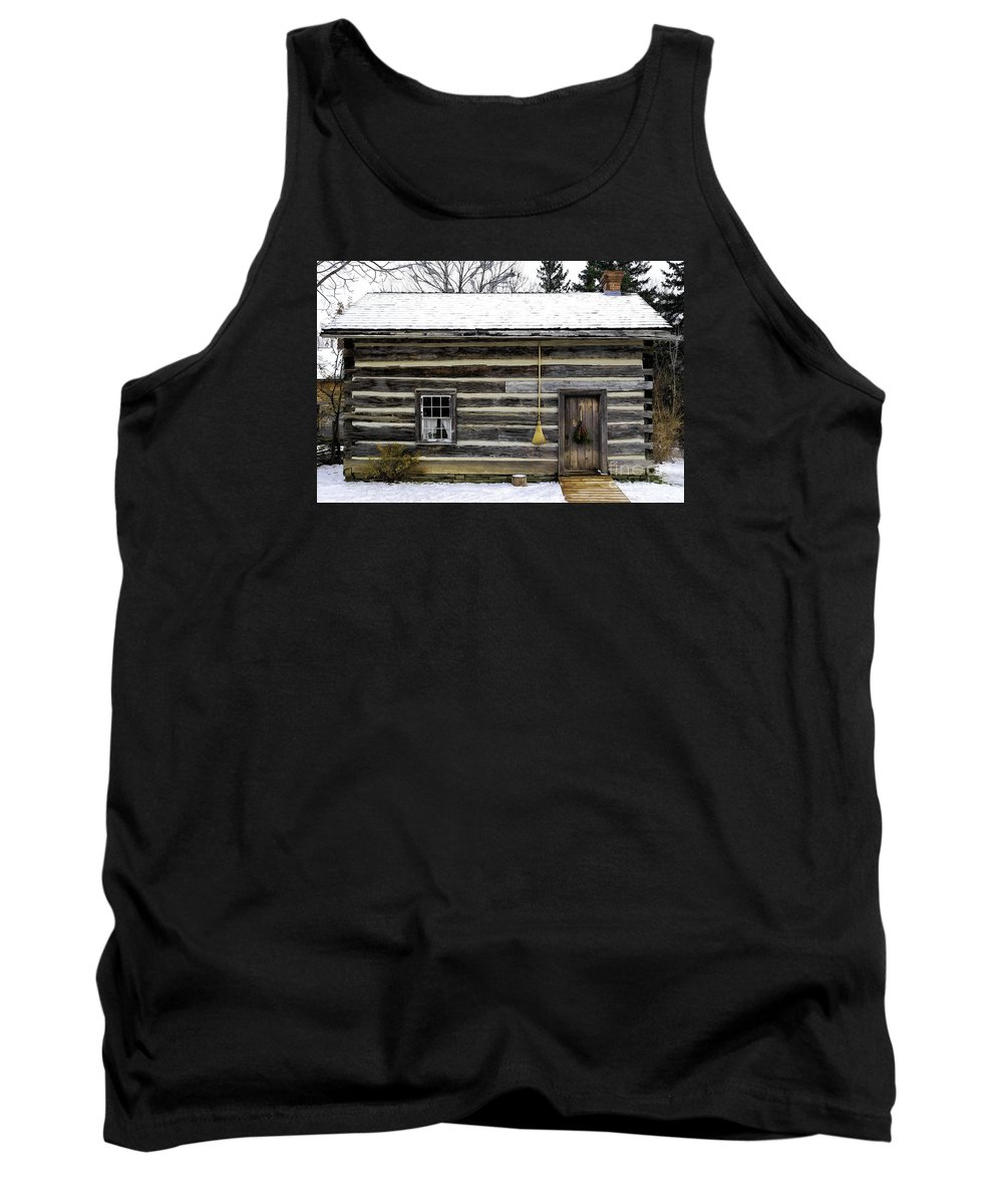 Old Tank Top featuring the photograph Old Log Home With A Broom by Les Palenik