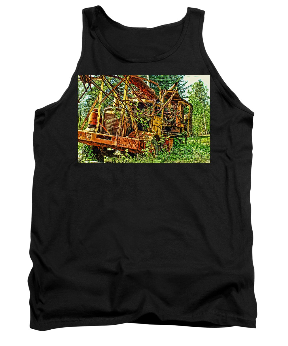 Old Trucks Tank Top featuring the photograph Old Logger-hdr by Randy Harris