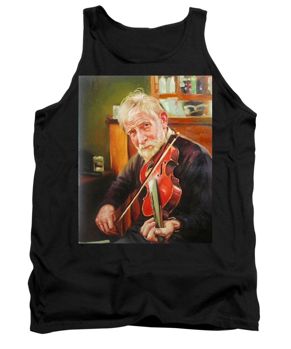 Irish Music Tank Top featuring the painting Old Man And Fiddle by Conor McGuire