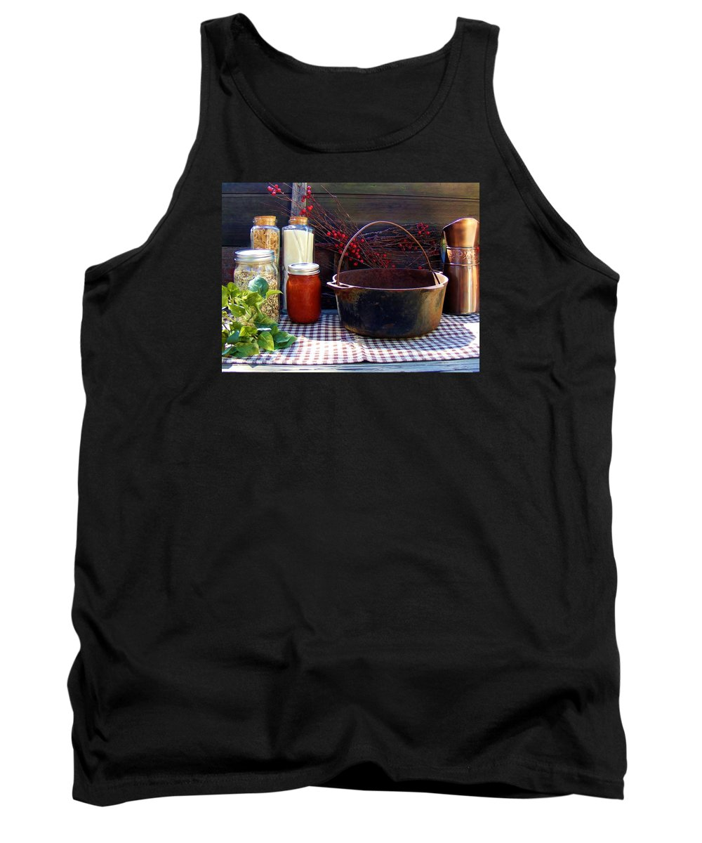 Still Life Tank Top featuring the photograph Old Miners Outdoor Kitchen Table Still Life by Cherie Cokeley