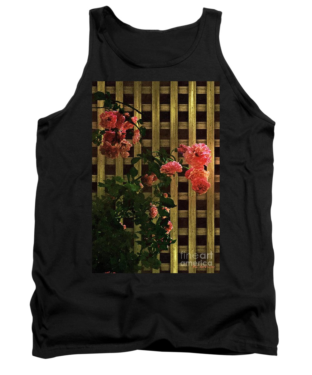 Lattice Tank Top featuring the painting Old Roses, Old Wood by RC DeWinter