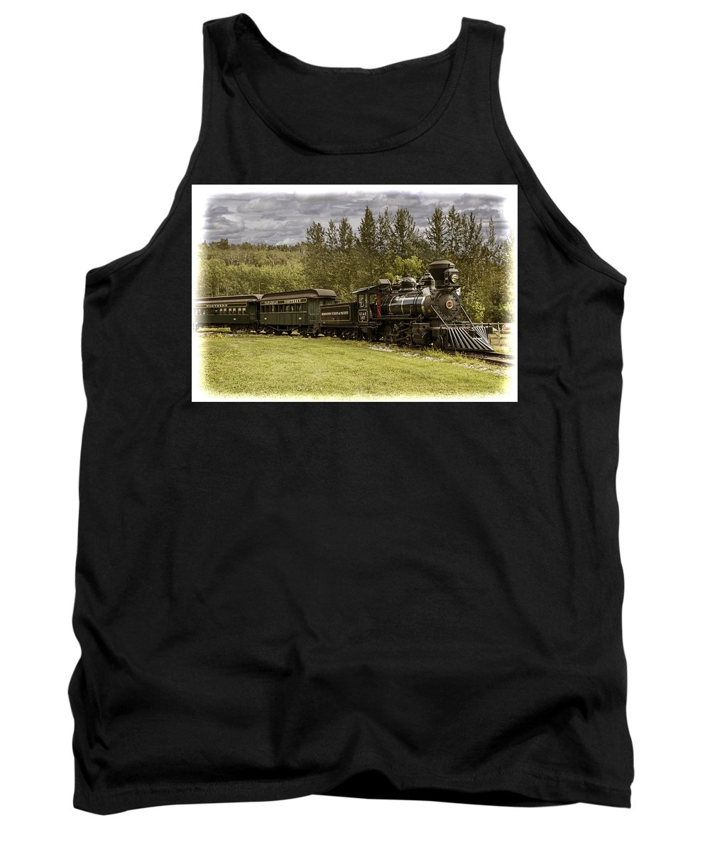 Landscape Tank Top featuring the photograph Old Train Steam Engine At The Fort Edmonton Park by Randall Nyhof