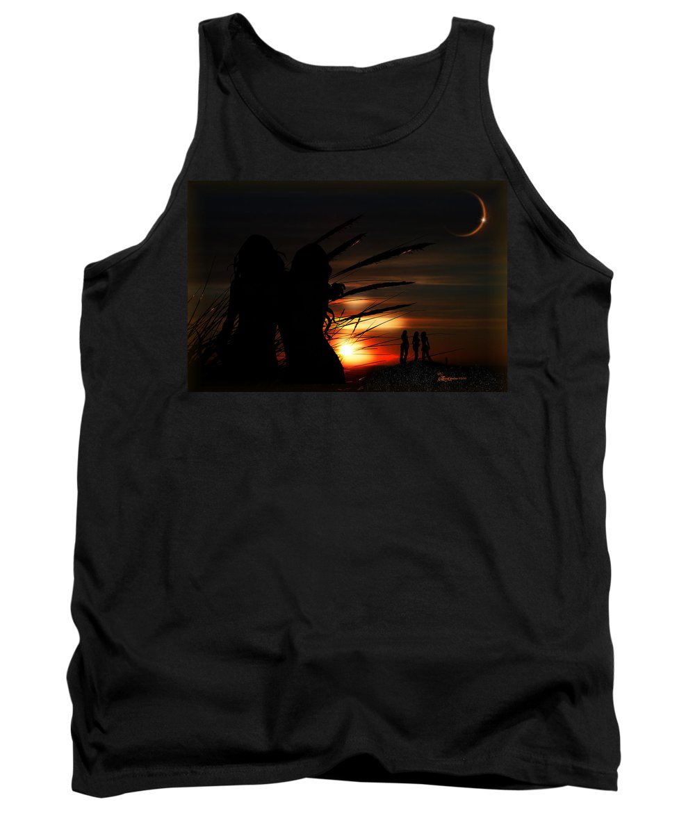 Sea Tank Top featuring the digital art One Night At The Seashore by Ericamaxine Price