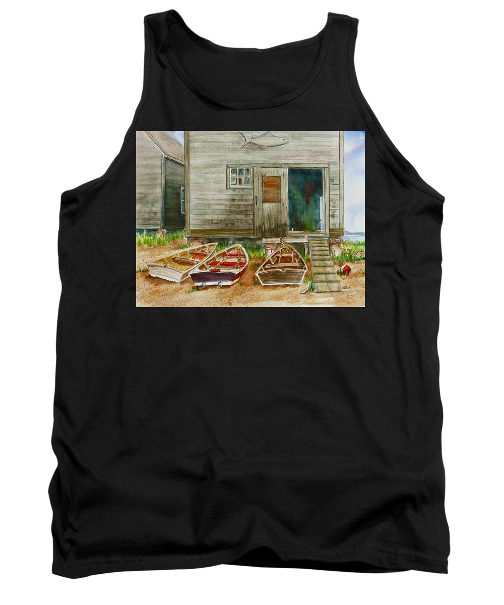 Watercolor Tank Top featuring the painting 13. Yacht Club by Elaine Wilson