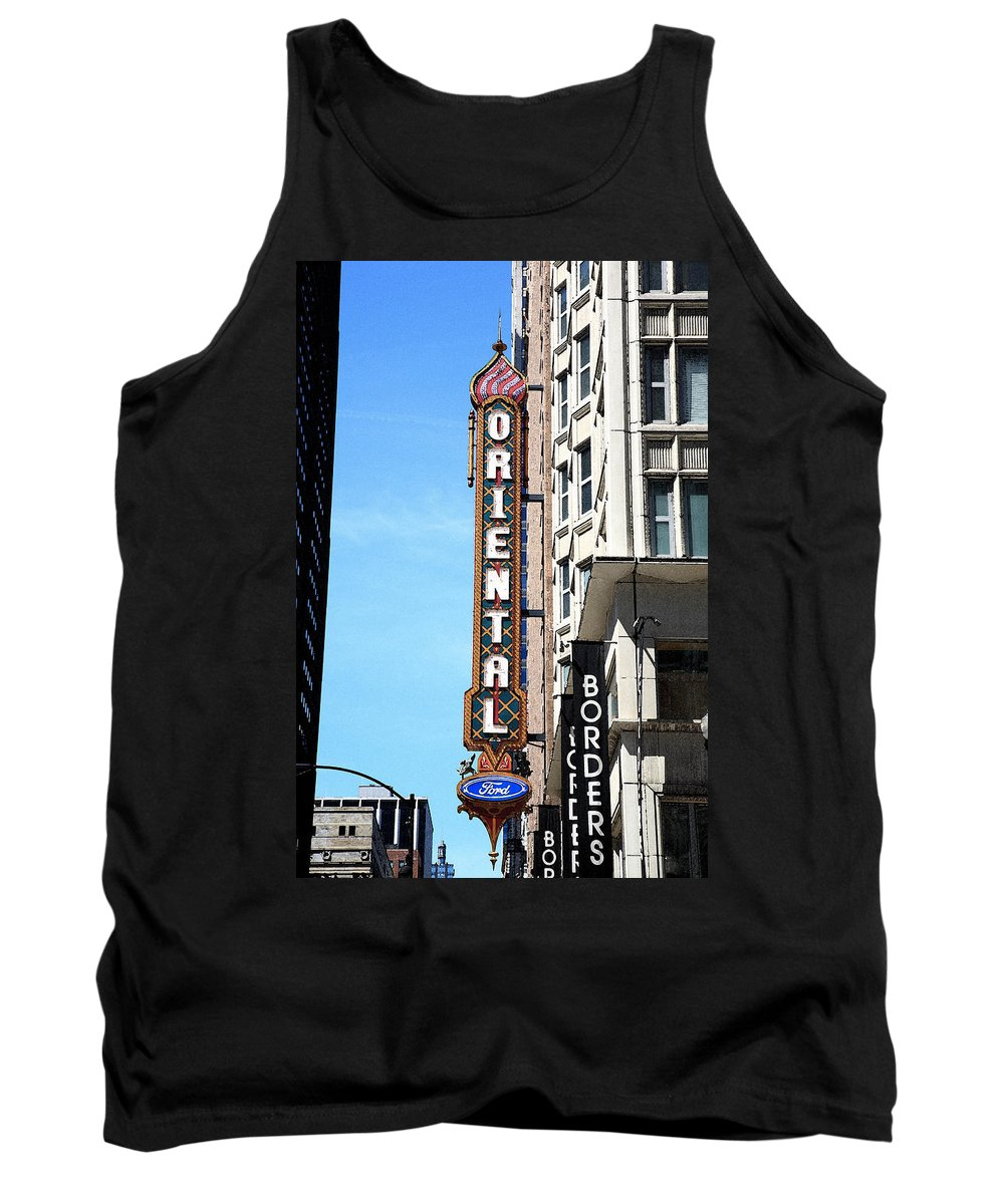 America Tank Top featuring the photograph Oriental Theater With Watercolor Effect by Frank Romeo