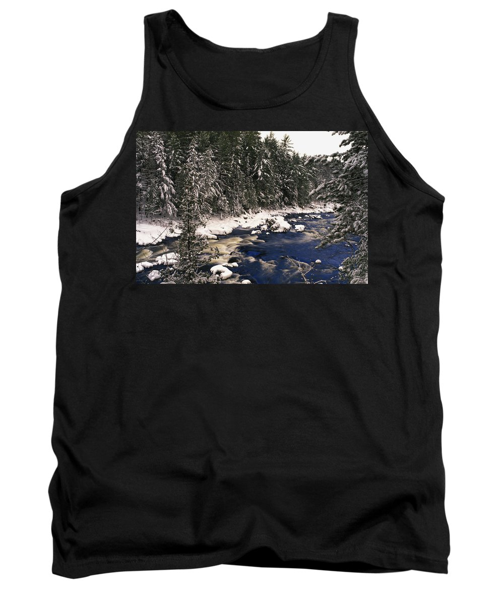 Light Tank Top featuring the photograph Ouareau River And Snow Covered by Perry Mastrovito