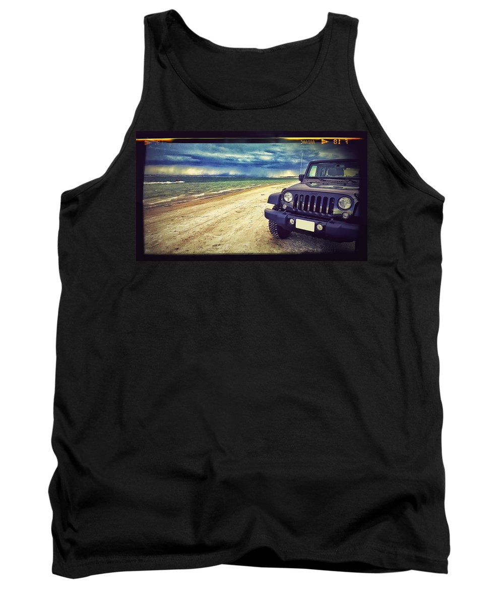 Jeep Tank Top featuring the photograph Out For A Play by Adam Vance