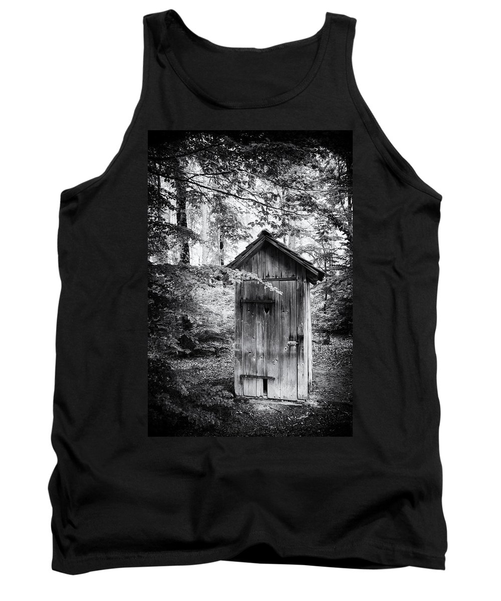 Outhouse Tank Top featuring the photograph Outhouse In The Forest Black And White by Matthias Hauser
