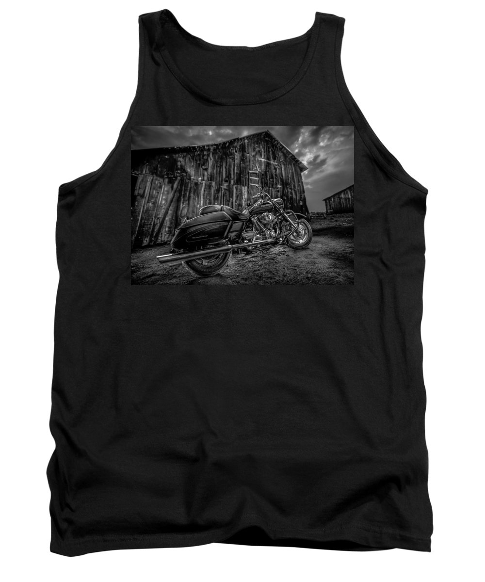 Davidson Tank Top featuring the photograph Outside The Barn Bw by Yo Pedro