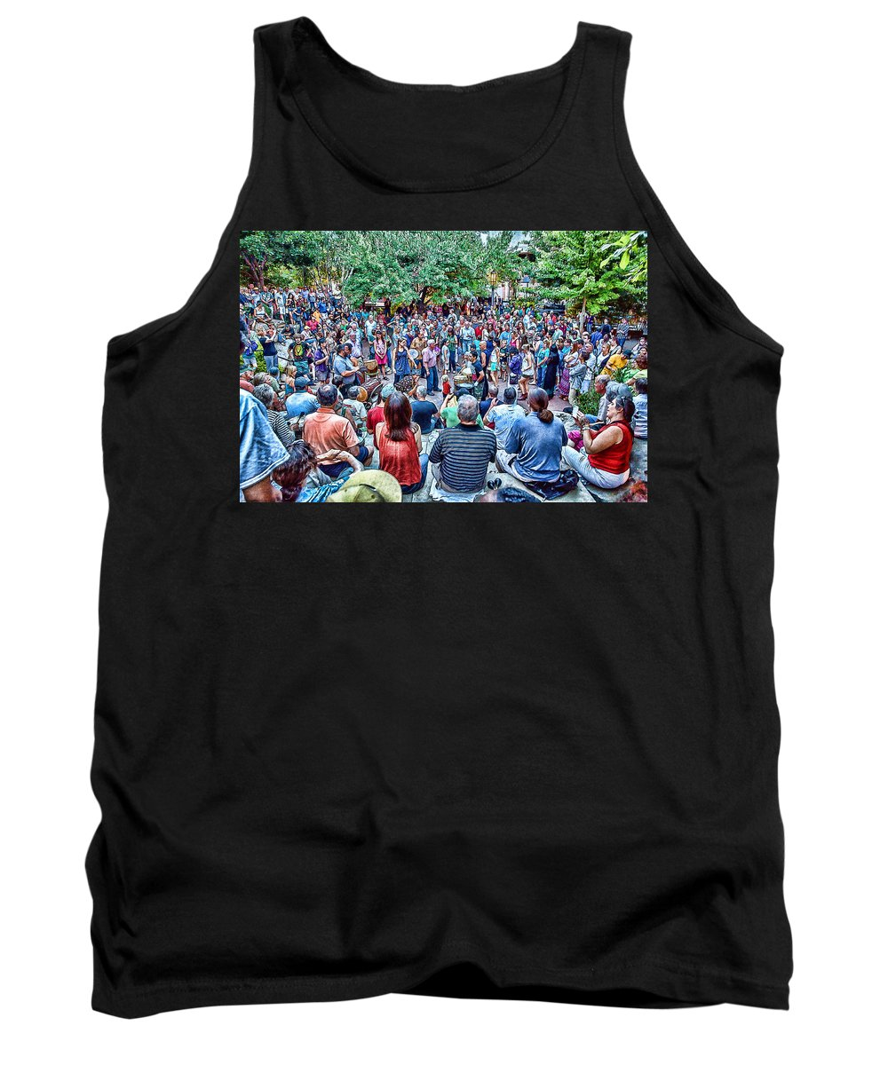 Drum Circle Tank Top featuring the digital art Overlooking The Asheville Drum Circle by John Haldane