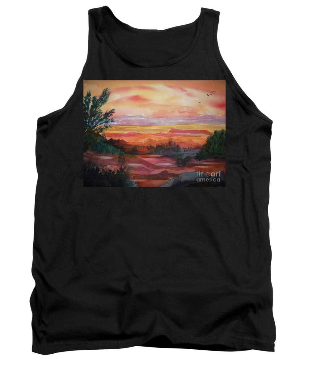 Southwest Tank Top featuring the painting Painted Desert II by Ellen Levinson