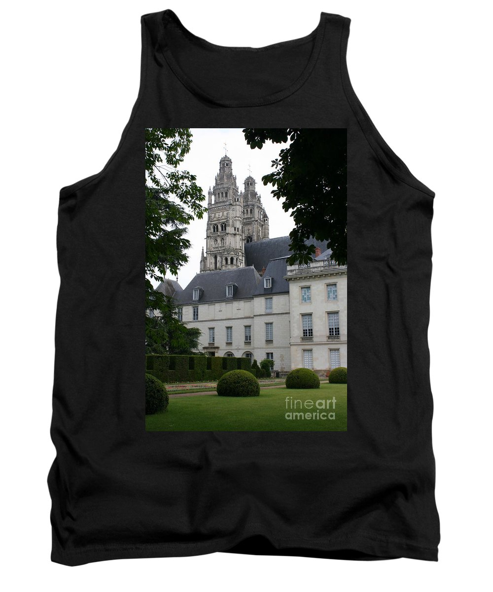 Cathedral Tank Top featuring the photograph Palais In Tours With Cathedral Steeple by Christiane Schulze Art And Photography