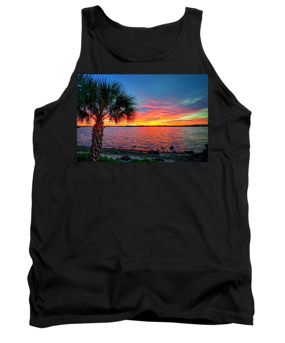 Palm Tank Top featuring the photograph Palm Beach Sunset by Lynn Bauer